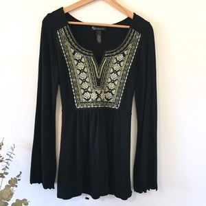 INC | Embroidered Black Tunic Gold Silver Detail M